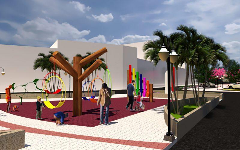 Imagem 3D de representação do resultado final do projeto de revitalização da Praça da Saudade